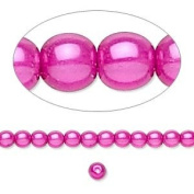 80pc Glass Pearls, Beads, Hot Pink, 8mm Round