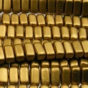 Czechmate 2mm X 6mm Brick Glass Czech Two Hole Bead - Matte Metallic Aztec Gold