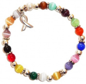 Stretchy 18 Colours Packaged Cancer Awareness Bracelet- 6mm