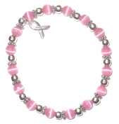 Stretchy Pink BREAST Cancer Packaged Awareness Bracelet- 6mm