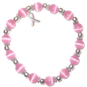 Stretchy Pink BREAST Cancer Packaged Awareness Bracelet- 8mm