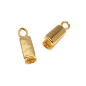 SilverSilk Findings 1-Strand Pinch End Caps - Gold Plated 13.5x5mm