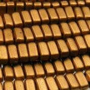 Czechmate 2mm X 6mm Brick Glass Czech Two Hole Bead - Matte Metallic Goldenrod