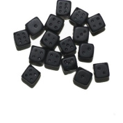 Matte black Dice Czech Pressed Glass Beads