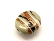 1pc Czech Glass Lampwork Beads Oval 16x12 mm Opaque Grey decorated black , aventurine and white stripes