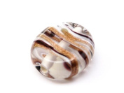 1pc Czech Glass Lampwork Beads Oval 16x12 mm Crystal decorated black , aventurine and white stripes