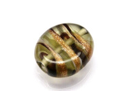 1pc Czech Glass Lampwork Beads Oval 16x12 mm Smoke Grey decorated black , aventurine and white stripes