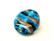 1pc Czech Glass Lampwork Beads Oval 16x12 mm Aquamarine decorated black , aventurine and white stripes