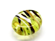1pc Czech Glass Lampwork Beads Oval 16x12 mm Amber decorated black , aventurine and white stripes