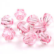 Charms Clear Shiny Pink Faceted Round Balls Acrylic Spacer Beads 100