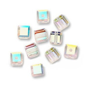 . ELEMENTS Crystal #5601 4mm Cube Crystal AB Beads (10