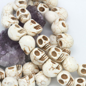 Howlite Turquoise Loose Beads Carved Skulls Spacer 13X18mm White