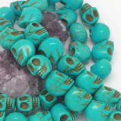 Howlite Turquoise Loose Beads Carved Skulls Spacer 13X18mm Turquoise