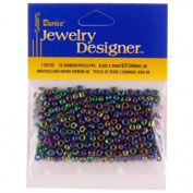 "6/0 Glass ""E"" Beads, Black Carnival AB, 20 Gramme Pkg"