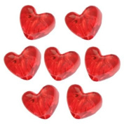 260 Red Transparent Heart Pony Beads
