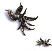 Fabulous Bronze Flying Bird with Crystal Rhinestone Blooch 1pcs