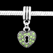 Antique Silver Light Green Rhinestone Key to My Heart Dangle Compatible with Pandora, Chamilia, Troll, Biagi and Other Italian Jewellery