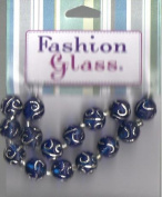 15 pc Blue Round with Metallic Inlay Beads - Fashion Glass by Cousin - #3475602