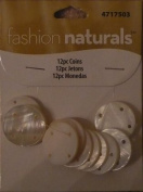 12pc Coins - White/Faux Mother of Pearl - Fashion Naturals by Cousin - #4717503