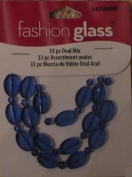 33pc Oval Mix Blue Beads - Fashion Glass by Cousin - #3476009
