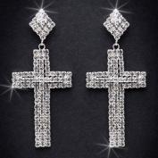 Crystal Rhinestone Cross Earrings, 5.1cm - 1.3cm Long, Crystal/Silver EAR_4020
