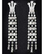 Crystal Rhinestone Earrings, 7.6cm - 1.9cm Long, Crystal/Silver EAR_4034