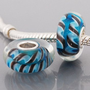 Beads and Dangles European charm glass bead cyan brown-Fit All Brands Silver Plated Bracelets Beads Charms