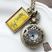 ETSYG Vintage Drink Me Pocket Watch Necklace Quartz Watch Alice In Wonderland Rabbit