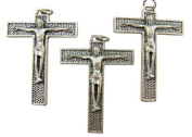 Lot of 3 - Jewellery Making Charms 4.4cm Silver Tone Medal Cross Crucifix Pendant