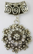 1set Silver Jewellery Scarf Charm Tube Side with Big Flower Rhinestone Crystal Pendant Necklace & Scarf Findings