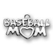 Sterling Silver Baseball Mom Charm with Split Ring #2971