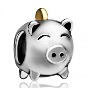 Silver Plated Pugster Pig Money Box European Plated Bead Fits Pandora Charm Bracelet