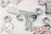 H63 Wholesale 3 PCS Cute Crystal Gun Pistol Crystal Pendant Charm