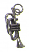 Charm Gallery 77193 Silver Plated Trumpet Charm