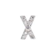 .925 Sterling Silver Initial Letter X Diamond Sense Cubic Zirconia Pave Pendant 41cm Chain