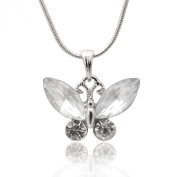 Silver Plated Colour Crystal Butterfly Necklace