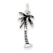 Sterling Silver Antiqued Palm Tree Charm