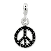 Sterling Silver Enamelled Peace Symbol Enhancer, Best Quality Free Gift Box Satisfaction Guaranteed