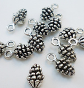 Tiny Pinecone Charms - Antique Silver- Set of 25