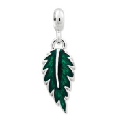Sterling Silver Green Enamelled Leaf Enhancer, Best Quality Free Gift Box Satisfaction Guaranteed