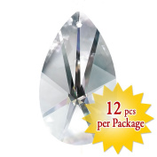 CrystalPlace Clear 12 Pieces Faceted Glass Pear Decorative Charm in 3.8cm