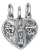 "Sterling Silver ""Big Sis, Little Sis, Mom"" 3 to Piece Breakaway Heart Charm"
