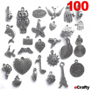 eCrafty EC-5655 100-Piece Silver Pewter Charms Pendants Mega Mix DIY for Jewellery Making and Crafting