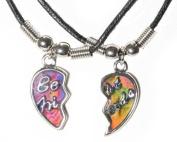 Best Friends. 2-piece Heart Silver Tone Charm Two 46cm steel Necklace