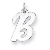 Sterling Silver Large Script Initial B Charm