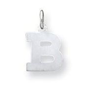 Sterling Silver Small Block Initial B Charm