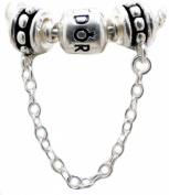925 Authentic EvesErose Link Dots Safety Chain Stopper w/ Sterling Silver Polished Beads, Fits Pandora, Chamilia, Troll & Other Similar European Bracelets Compatible