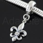 Magic Fleur De Lis .925 Sterling Silver Enamel Dangle Pendant Fits Pandora, Biagi, Troll, Chamilla and Many Other European Charm #EC352