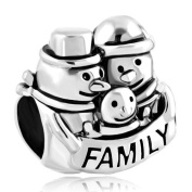 Silver Plated Snowman Mother Daughter Family Bead Fit Pandora Mom Baby Dad Charms