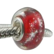 Beads and Dangles European charm glass bead red with silver foil-Fit All Brands Silver Plated Bracelets Beads Charms